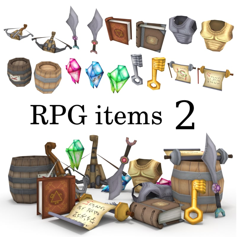 3d low-poly rpg items barrel model