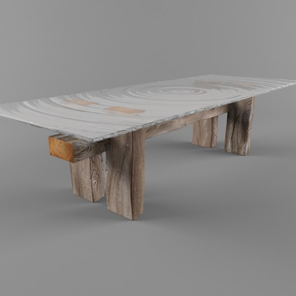 Coffee Table Reclaimed Wood 3d Obj