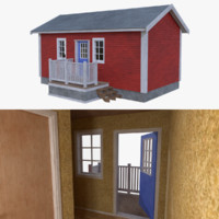 scandinavian cabin interior exterior 3d model