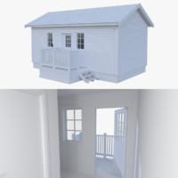 scandinavian cabin interior exterior 3d obj