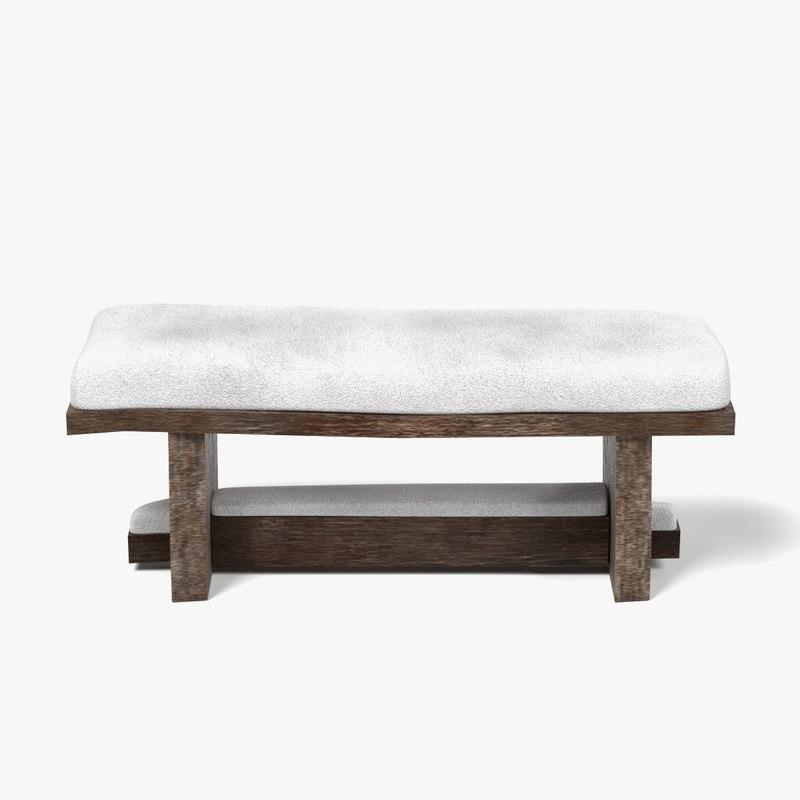 3d model bench snow