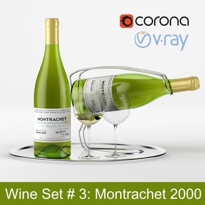 wine set bottle tray 3d model