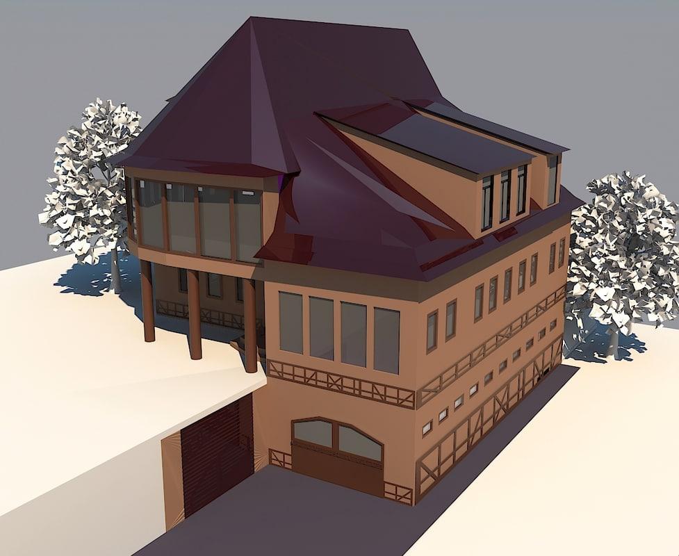 3d family house cottage model
