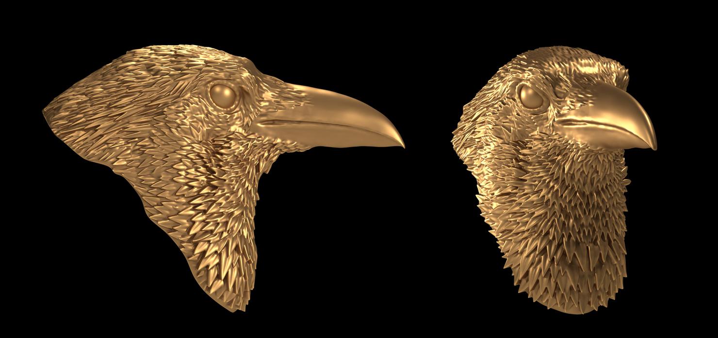 3d raven head model