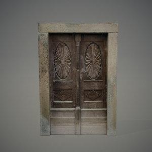 3d model old wooden door