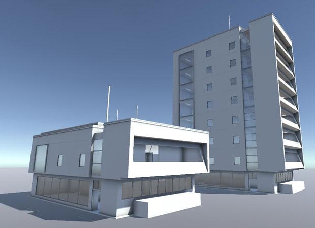 3d 3ds set residential buildings