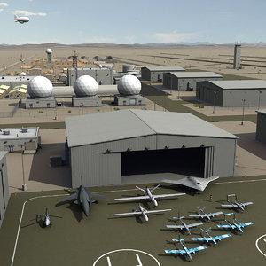 massive airbase uav drones 3d model