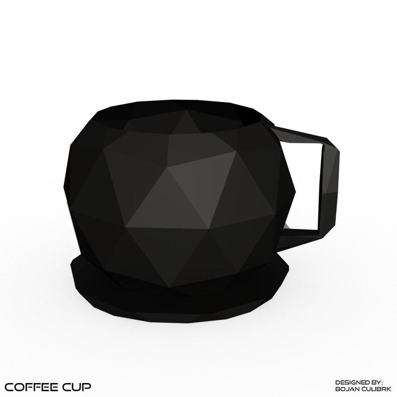 coffee cups table set obj