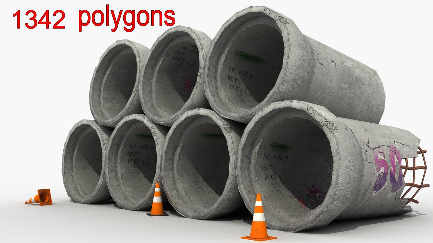 big concrete pipes 3d model