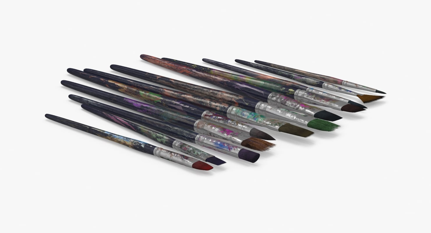 paint brushes 04 set 3d model