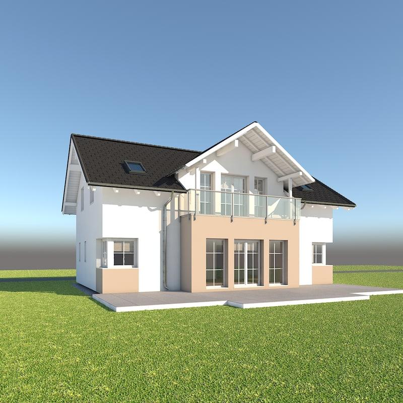 3d model modern family home