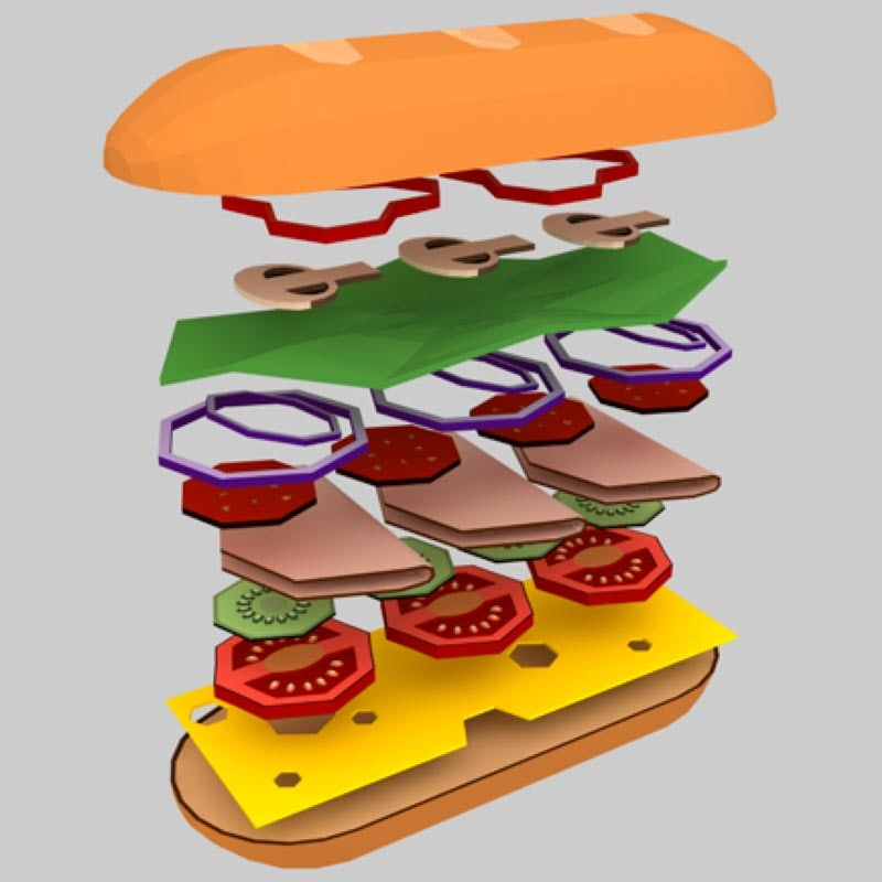 sandwich asset cheese c4d