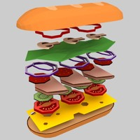 low poly sandwich (game ready)