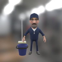 cartoon janitor character bucket 3d max