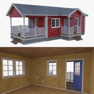 3d model scandinavian cabin interior exterior