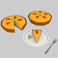 low poly food pie game ready