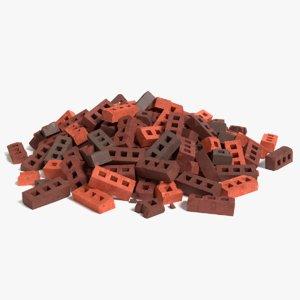 3d cartoon brick debris model