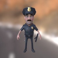 cartoon policeman character baton 3d obj