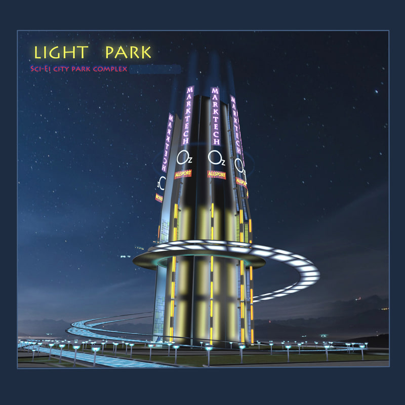 sci-fi city park light 3d obj