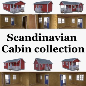 3d scandinavian cabins interior exterior model