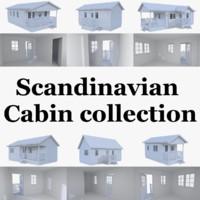 3d scandinavian cabins interior exterior