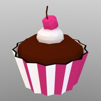 low poly cupcake muffin (game ready)