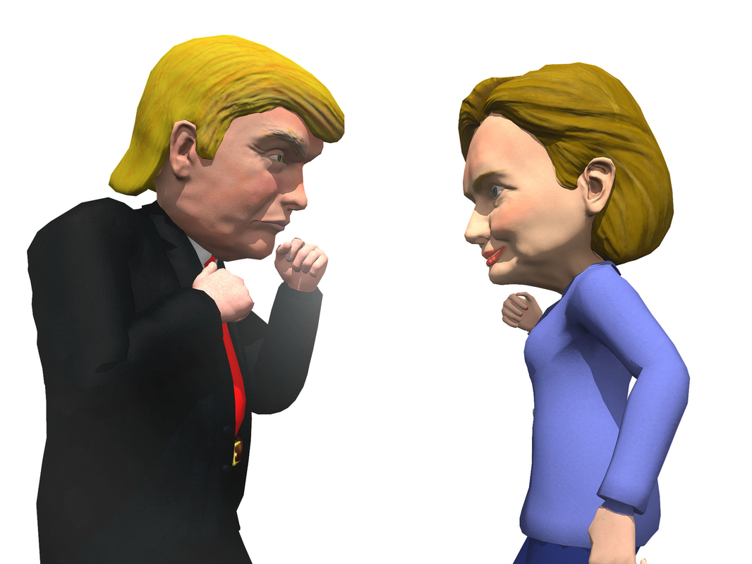 3d model pack caricatures trump hillary