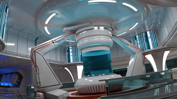 science fiction interior scene 3d max