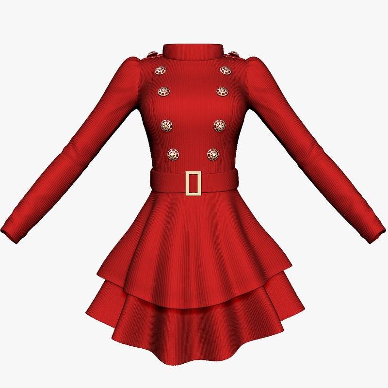 3d long sleeve womens dress