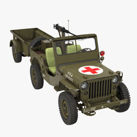 willys jeep 44 trailer 3d max