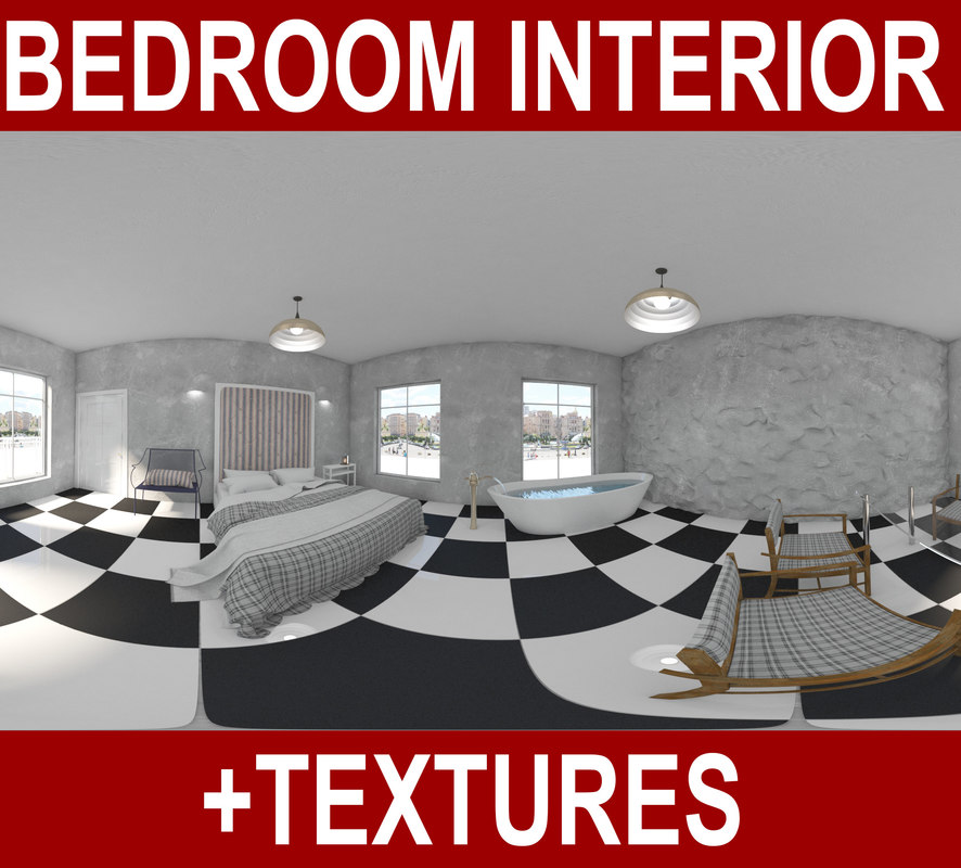 3d american bedroom interior bed model