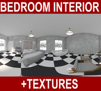 3d american bedroom interior bed model