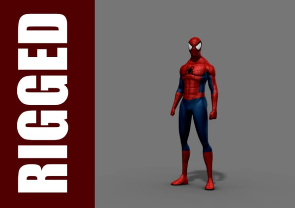 3d model of spider-man rig character