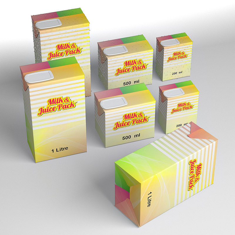 3d model milk juice pack 500