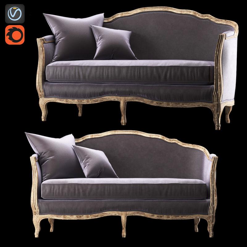 sofa ondine salon bench 3d fbx