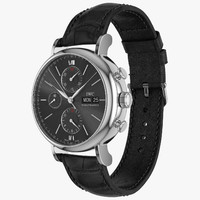 IWC Portofino Chronograph Closed Black Leather Strap