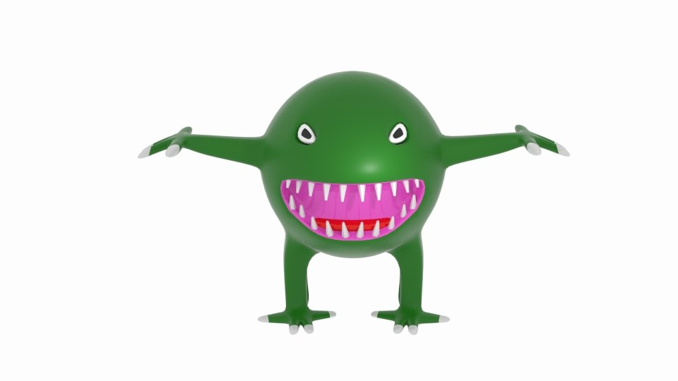 scary sphere space monster 3d model