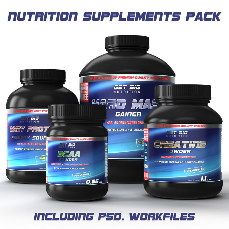 3d sports nutrition supplements pack model