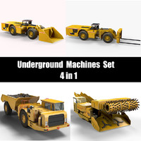 3d model underground machines set
