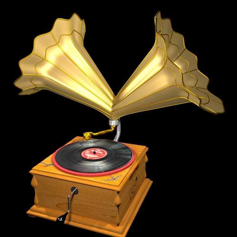 3d gramophone model