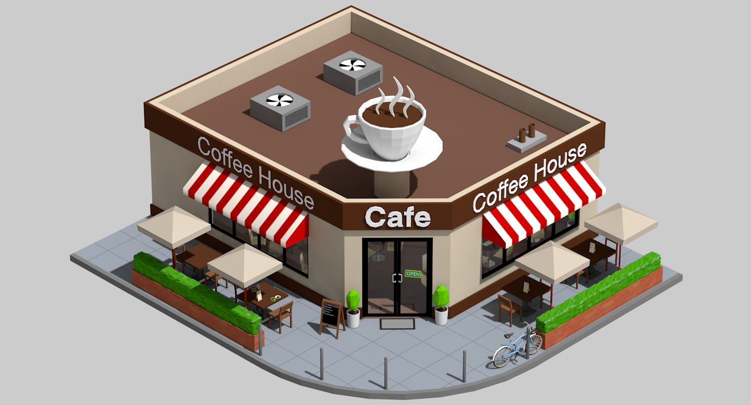 coffee shop exterior interior architecture 3d model
