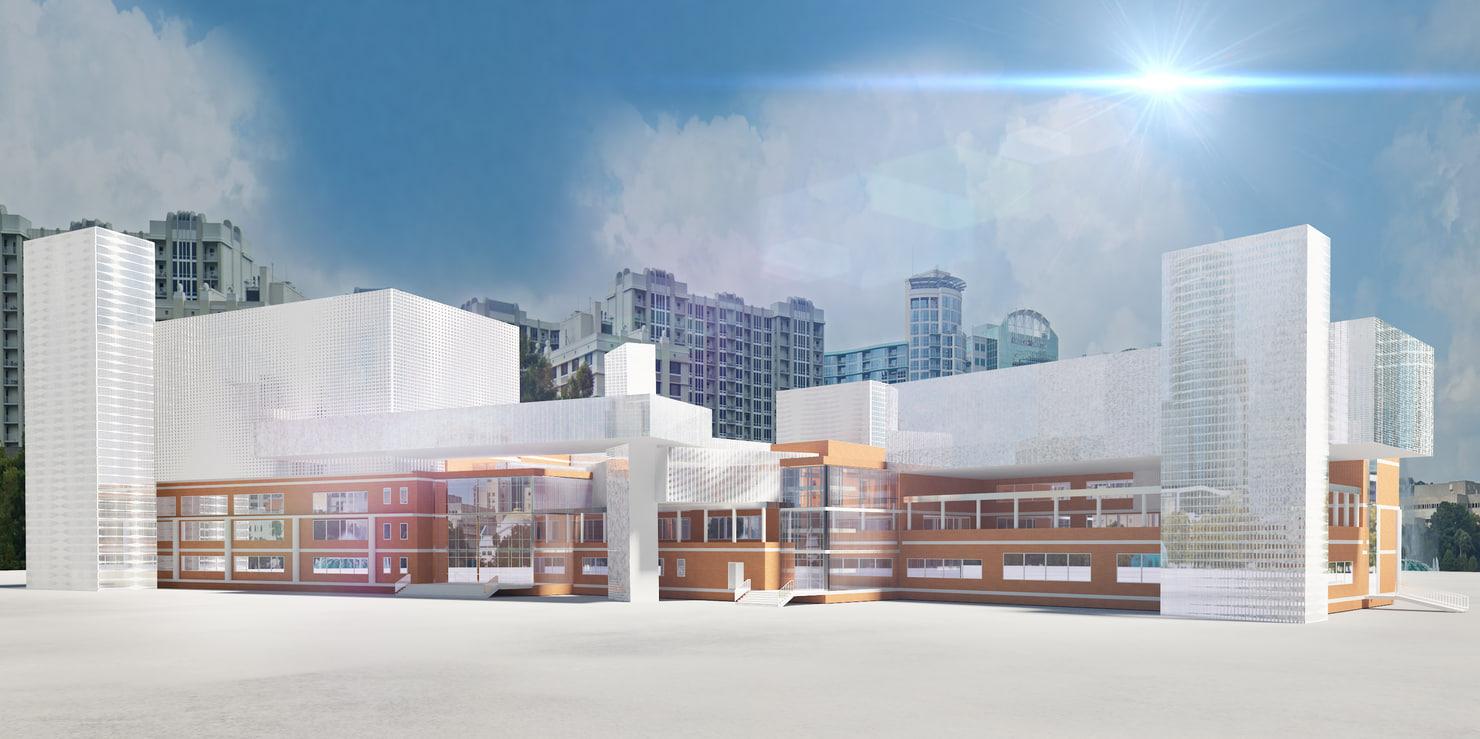 modern school 3d model