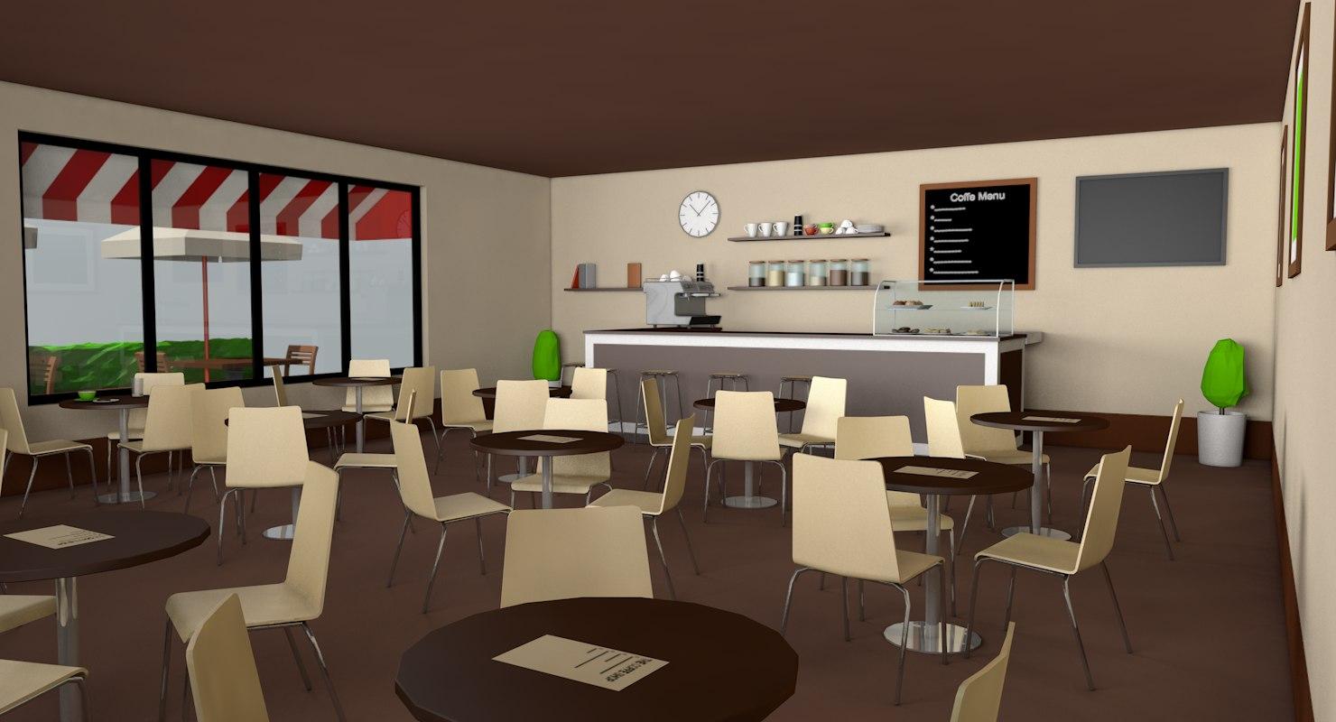 Coffee Shop Exterior Interior Architecture 3d Model