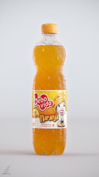 3d 500ml plastic orange bottle model