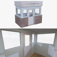 guard building interior 3d obj