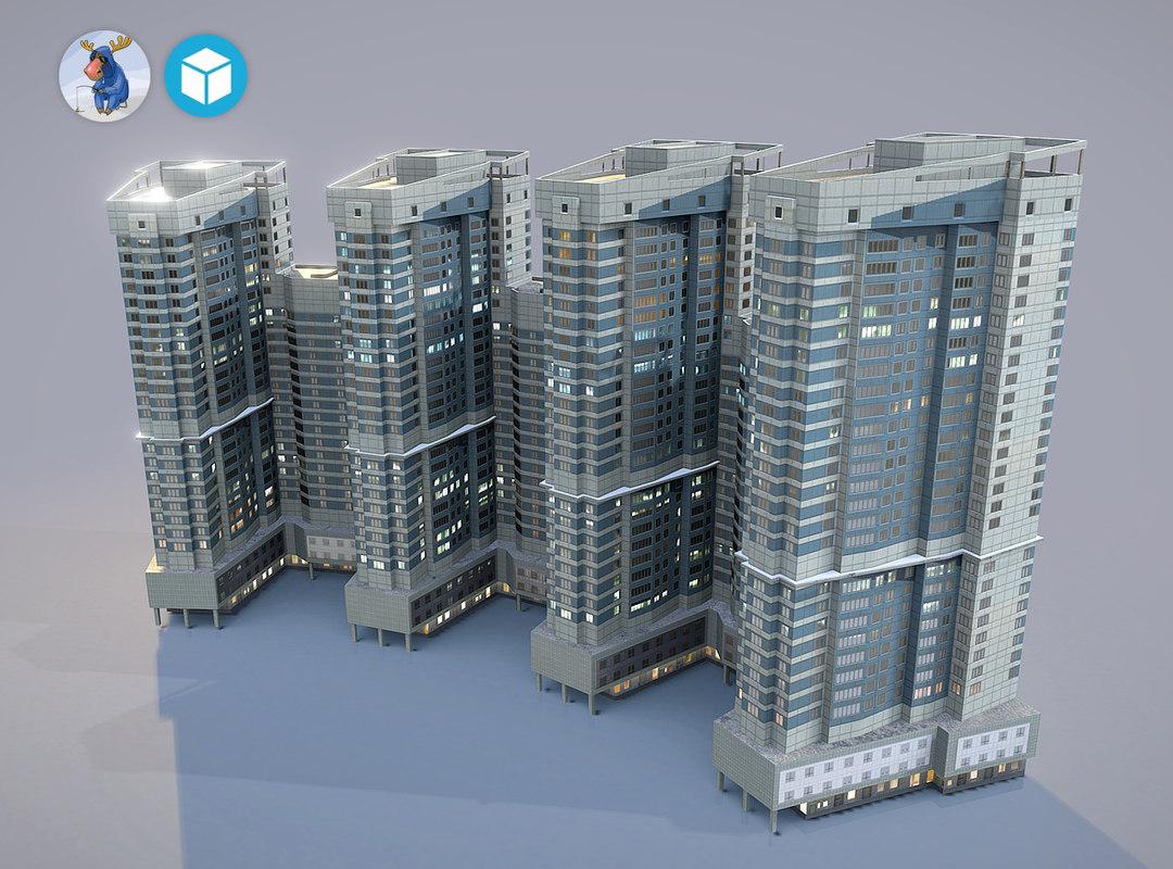 3d city house building25 model