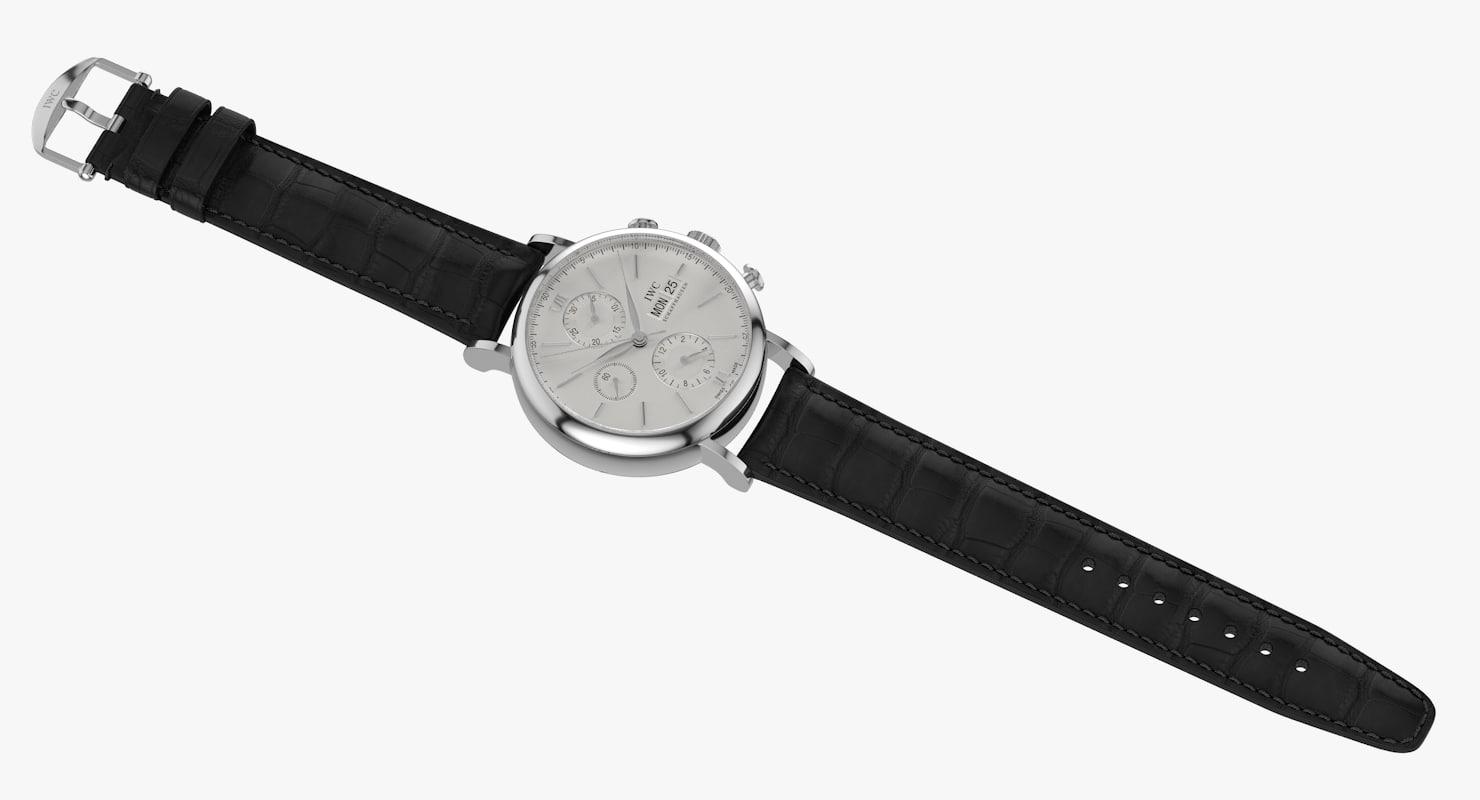 realistic iwc portofino chronograph 3d max