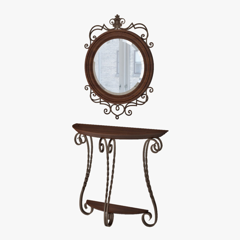 3d mirror console table
