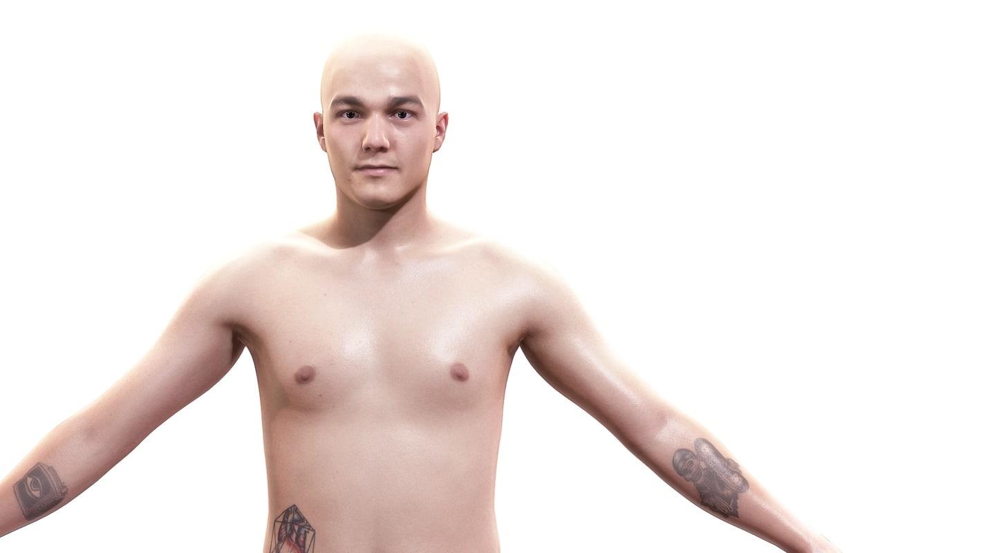 3d man character body anatomy