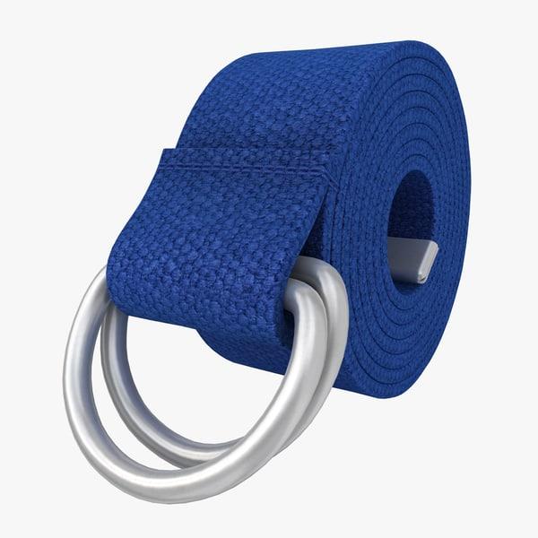 3d model realistic d-ring belt blue